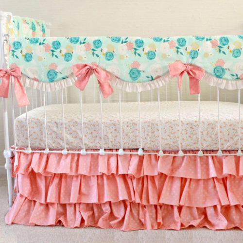 Peony Pink Teething Rail Cover Bumperless Set