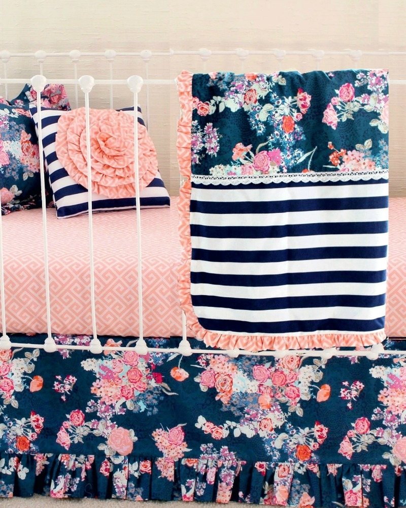 Modern Navy Floral Baby Bedding Set Navy Floral Coral