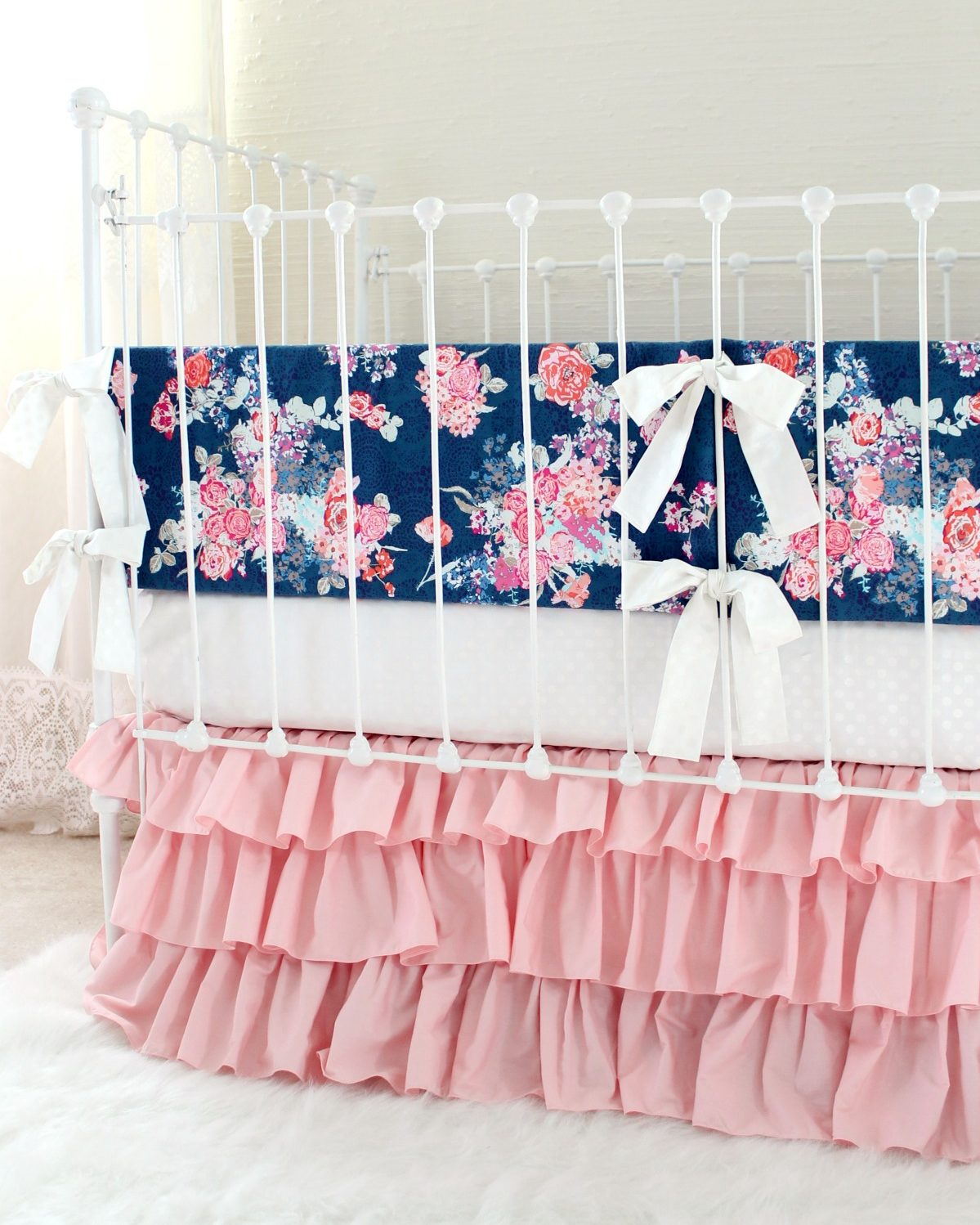 Blush Pink And Navy Baby Bedding Set