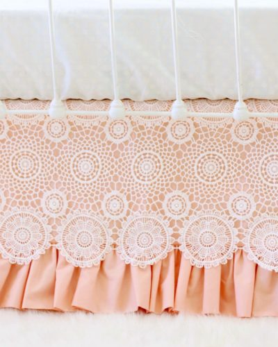Ice Peach/Ivory crochet lace cribskirt