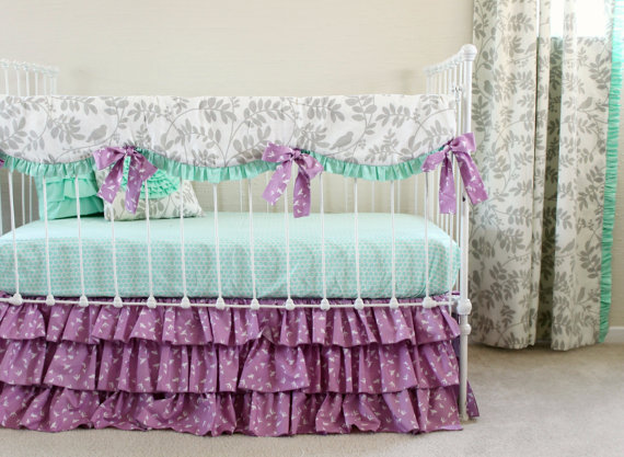 Bumperless Mint And Purple Bird Baby Bedding Set Blanket