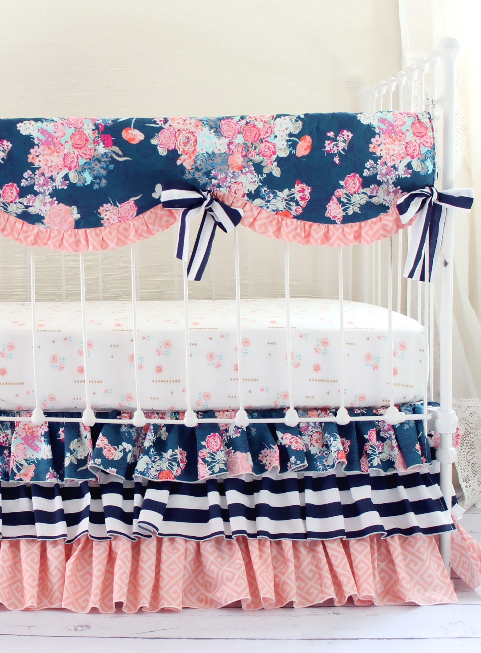 Navy Coral Crib Bedding Set Navy Floral Coral Bumperless Set