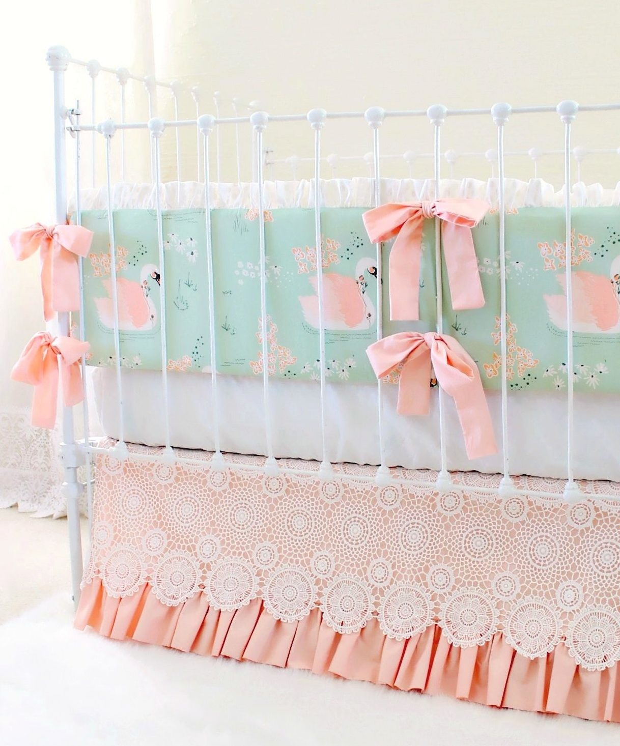 Vintage Peach Crib Bedding