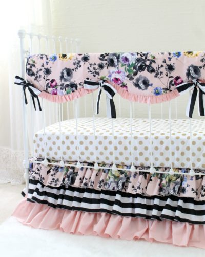 bumperless baby bedding, black and white, blush pink, and metallic gold accents contrast main floral print