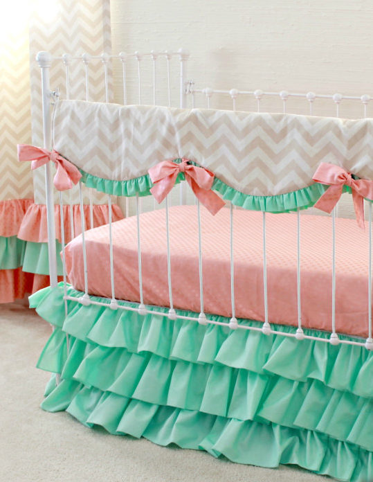 rail cover, mint, coral, taupe, chevron, bumperless baby bedding, crib bedding