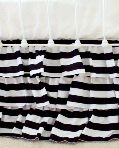 black and white stripe crib skirt