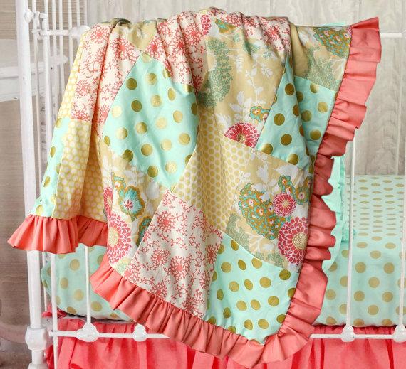 Coral Buttercup Patchwork Squares Crib Blanket Lottie Da