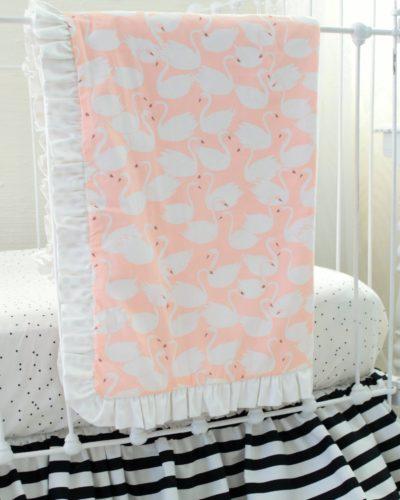 pink swan baby blanket