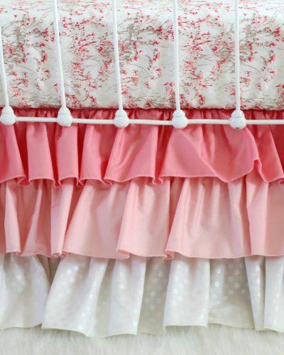 pink ombre ruffle cribskirt