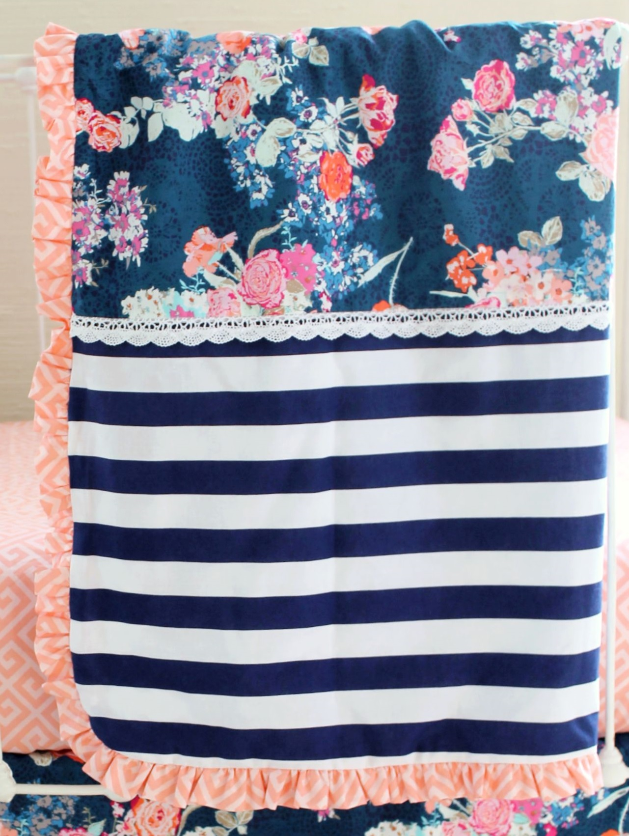 Navy Floral Crib Blankets Navy Floral Coral Crib Blanket