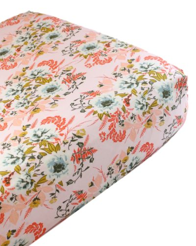 blush floral crib sheet