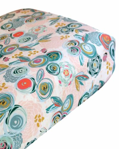 painted blossoms crib sheet