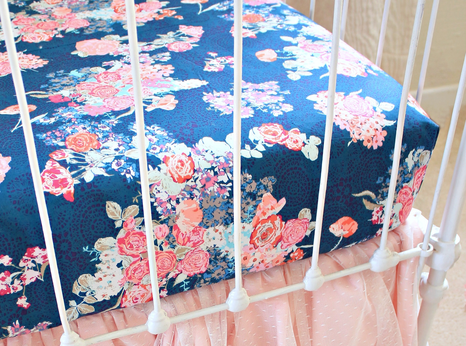Elegant Floral Crib Sheets Navy Floral Fitted Crib Sheet Lottie