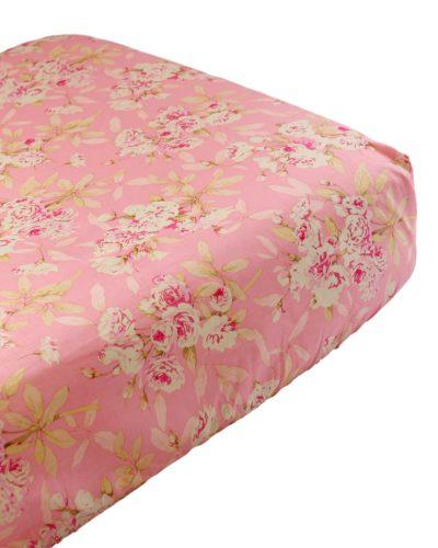 pink roses crib sheet