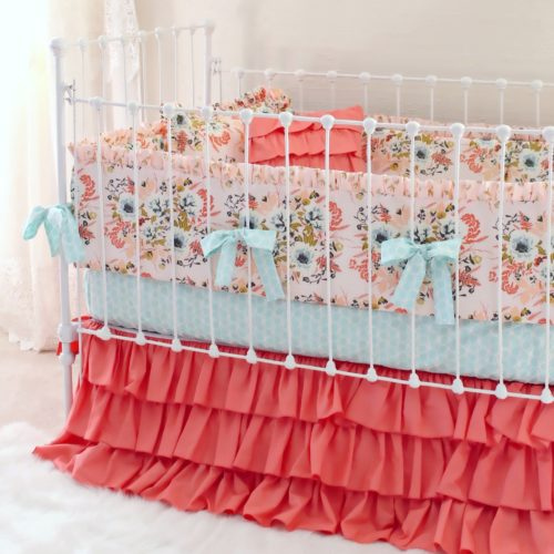 Blush Nursery With Neutral Textures: Blush Pink Floral Blended Bumperless Baby Bedding