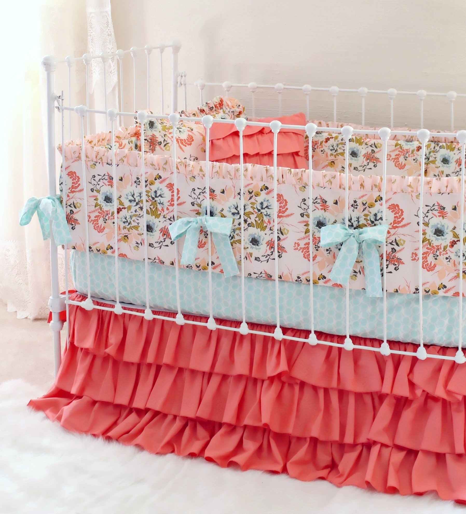 Bumperless Crib Bedding Blush Pink Floral Lottie Da Baby