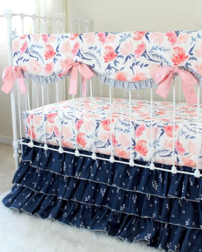 pink and navy floral crib bedding