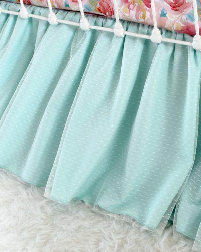 aqua seafoam crib skirt