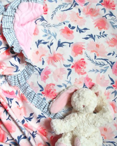 pink navy floral crib sheet