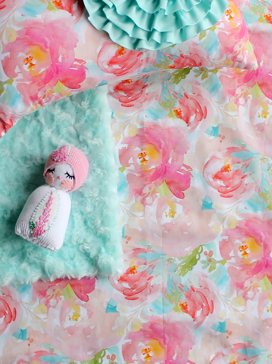 Watercolor floral crib sheet pink floral baby bedding baby girl pink floral crib sheet mightylinksfo