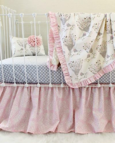 pink woodland crib set