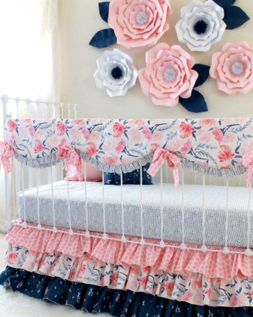 pink and navy floral crib set - Baby Girl Crib Bedding