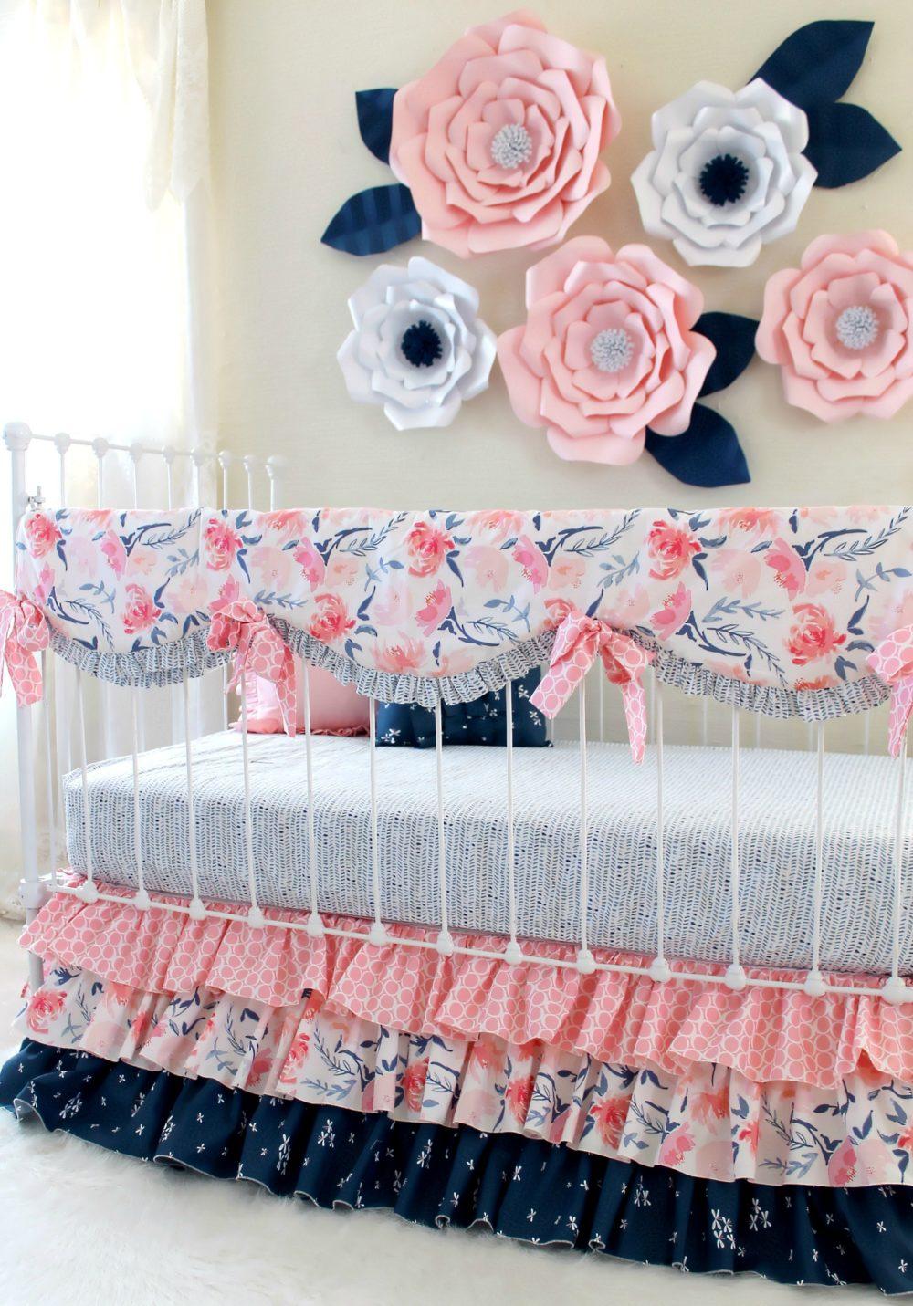 pink and navy print mix watercolor whispers ruffle crib set