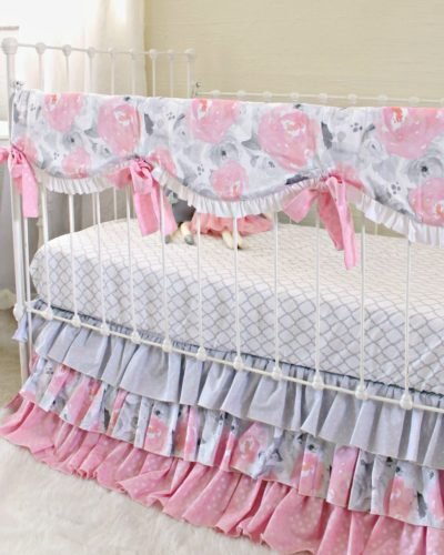 pink and gray baby bedding