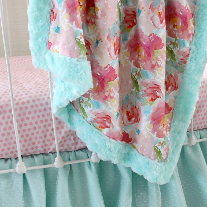 Pastel Baby Bedding Sets: Pastel Peonies Baby Bedding Set