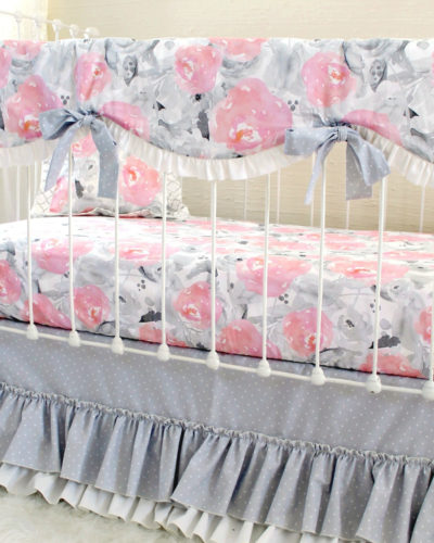 Pink Clouds and Silver Linings Rail Cover Bumperless Set - Grey Dot (Vertical Angle)