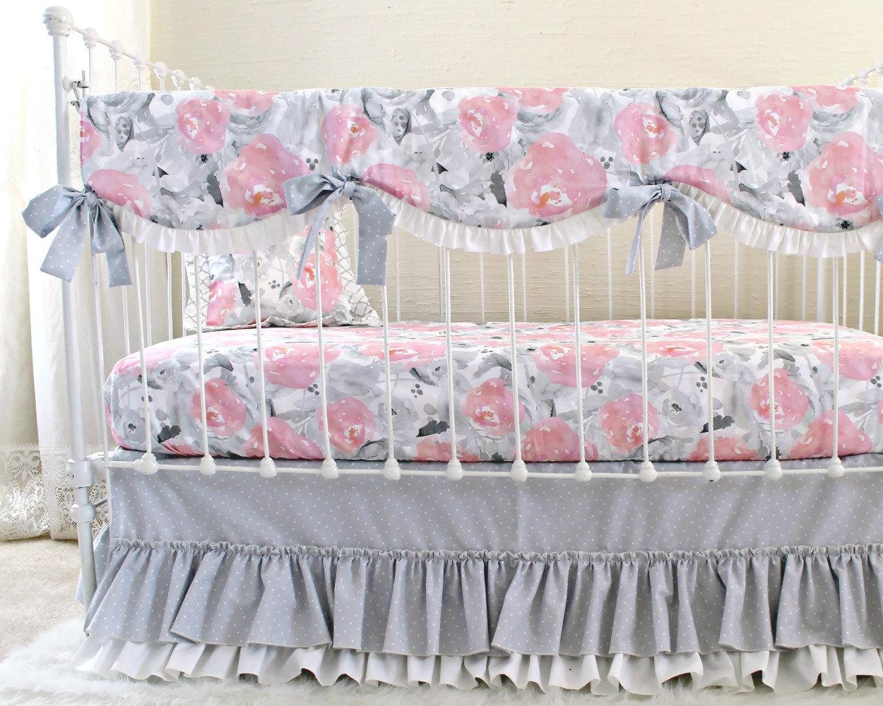 Pink Gray Fawn Baby Bedding Set Girls Pink Deer Woodland