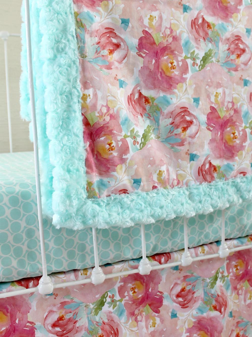 Pastel Peonies Rail Cover Bumperless Set Aqua Lottie