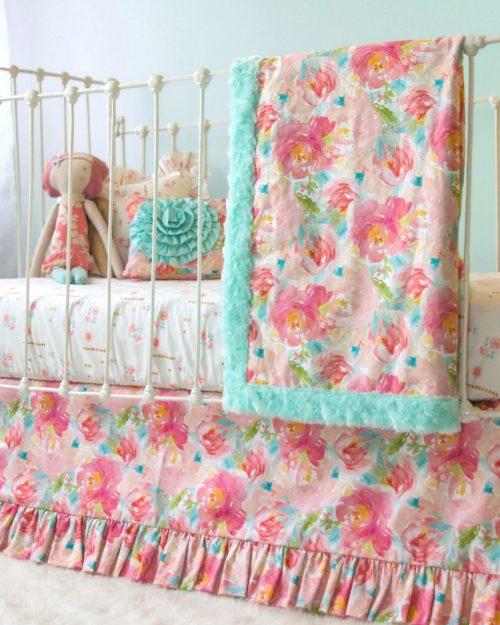 pastel peonies floral bumperless crib bedding