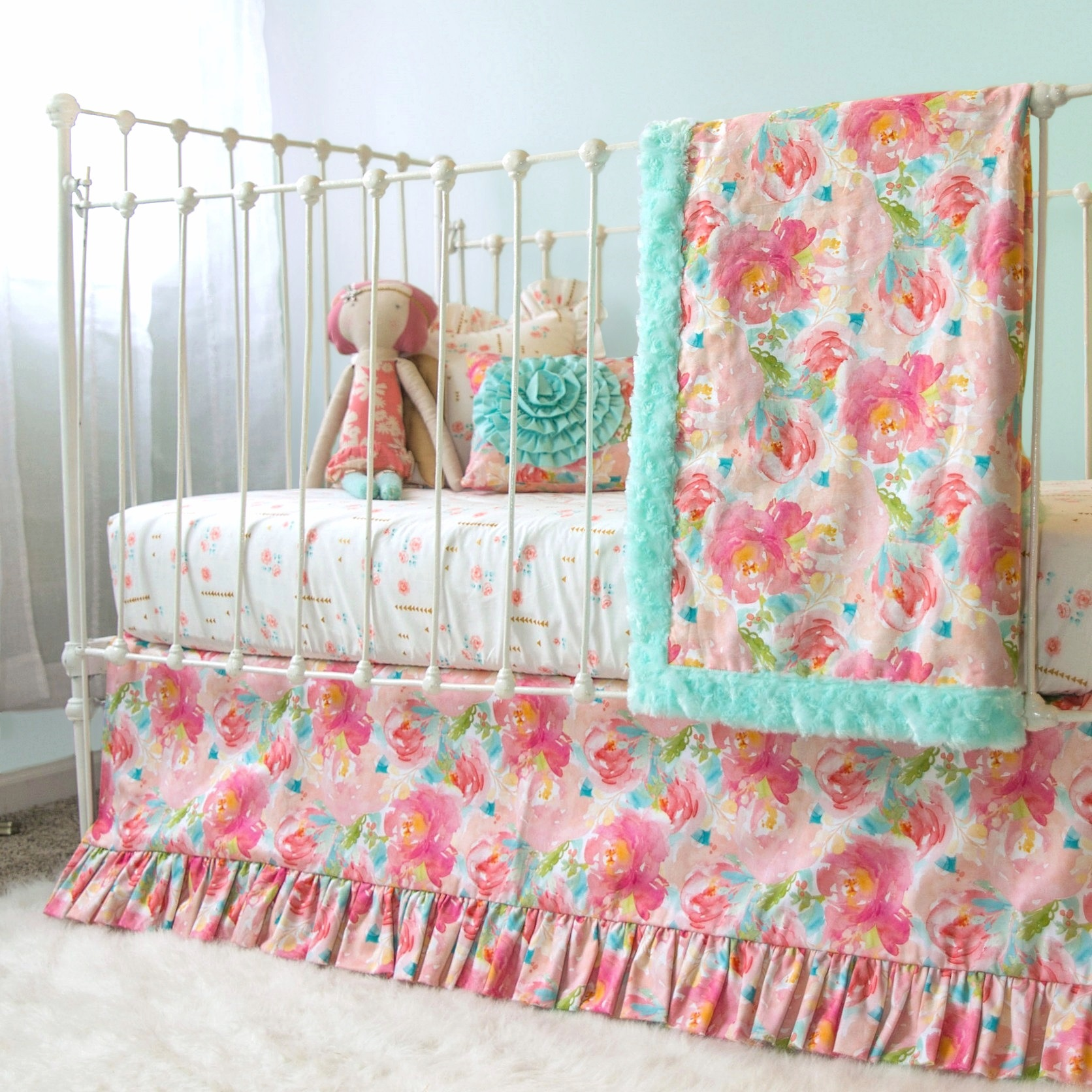 Pastel Nursery Bedding Sets: Pastel Peonies Floral Bumperless Crib Bedding
