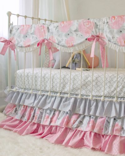 Pink and Gray Floral Crib Bedding