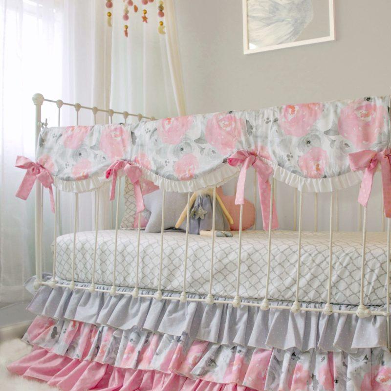 pink gray watercolor floral crib bedding