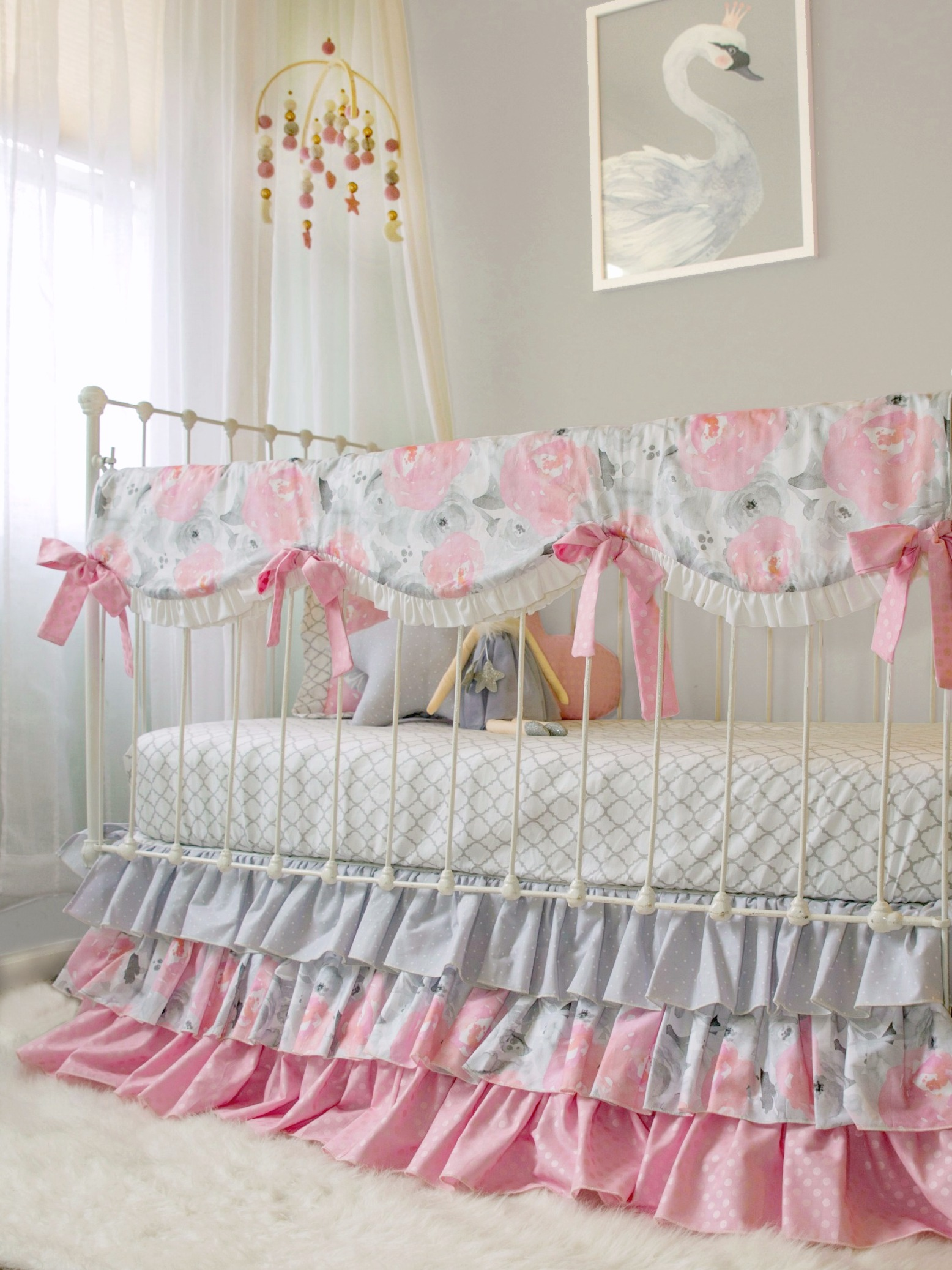 Pink Gray Watercolor Fl Crib Bedding