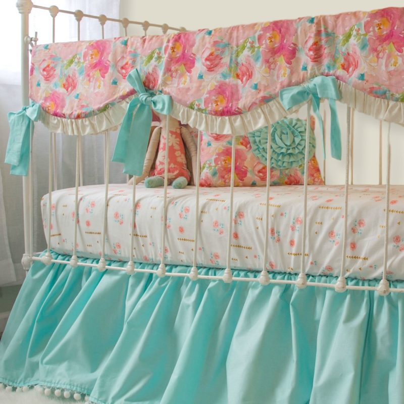 Pastel Peonies Crib Rail Cover