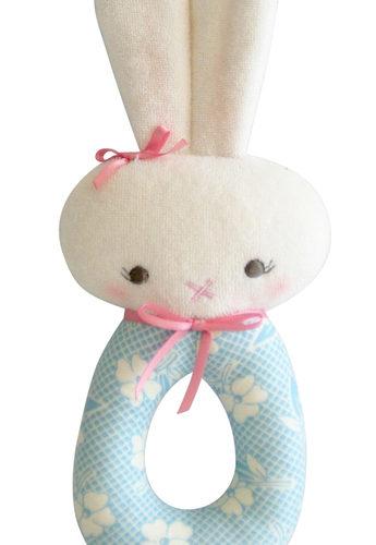 Hannah Bunny Grab Rattle Blue Ivory - Alimrose