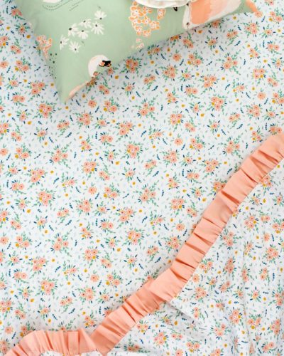 mini peach floral crib sheet