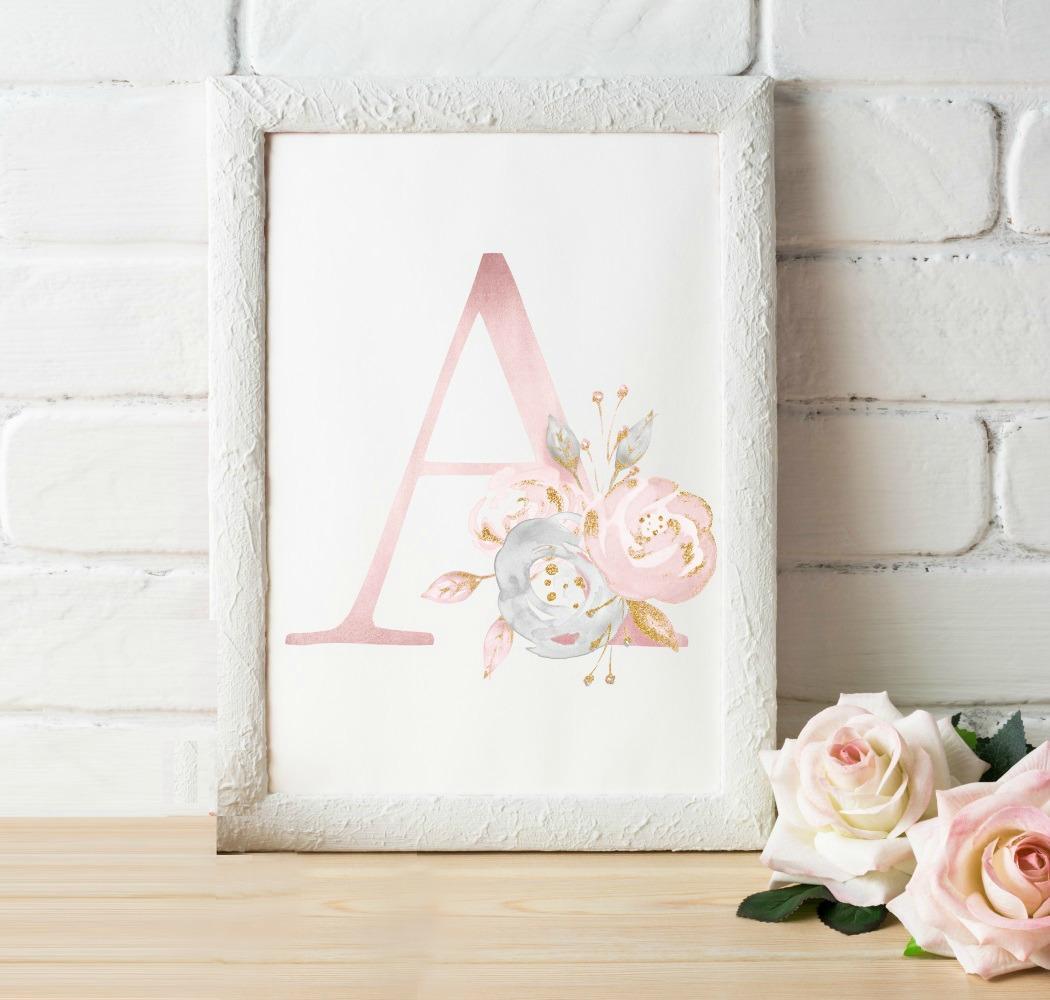 Letter Art Print.Rose Gold Floral Letter Art Print Digital Download