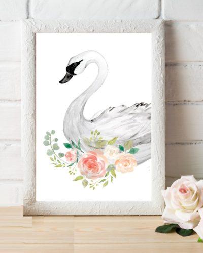 floral swan white frame