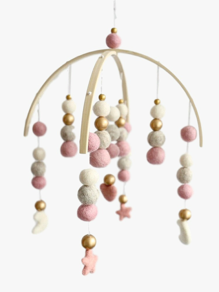 modern crib mobile nursery decor in peach and mint for a. Black Bedroom Furniture Sets. Home Design Ideas