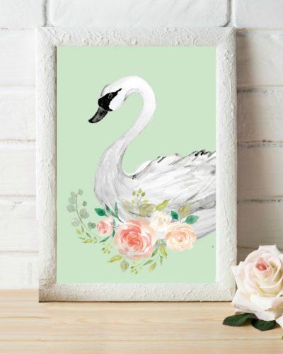 mint swan watercolor