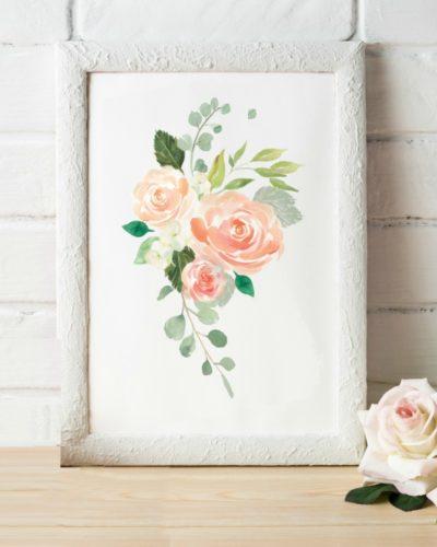 peach watercolor floral art