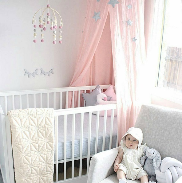 Soft And Elegant Gray And Pink Nursery: Modern Crib Mobile Nursery Decor In Peach And Mint For A
