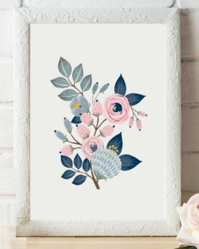 Gray and Navy Floral Art Print
