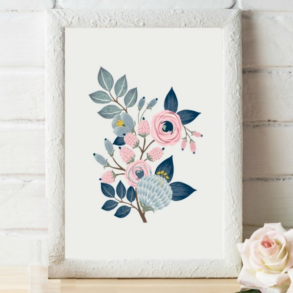 Gray And Navy Floral Nursery Art Digital Download