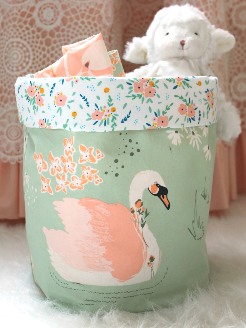 Swan Love Fabric Bins Lottie Da Baby