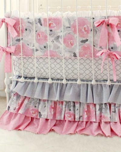 Pink Gray Baby Bedding Set